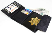 Black Leather Concealed Carry Badge Mens Wallet Star Shield Security Officer