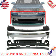 Front Bumper Chrome Steel Kit + Up Low And Covers For 2007-2013 Gmc Sierra 1500