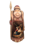 12 1/4 Wow Russian Hand Carved Painted Nativity Scene Santa Claus Figurine Gift
