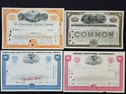 Us 4 Vintage Railroad Stock Certificates Penn.rr Pittsburgh And Wvpenn Central