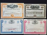 Us 4 Vintage Railroad Stock Certificates Penn.rr, Pittsburgh And Wv,penn Central
