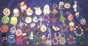 Large Lot Of 50 Vintage Hand Made Plastic Beaded Christmas Ornaments
