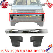 Front Bumper Chrome Steel + Ends For 86-93 Mazda Pickup B2600 B2200 B2000 2wd