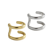 925 Sterling Silver Gold Round Double Ring Cuff Earring Clip-on Ear Wrap Box F35