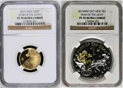 2015 Niue Year Of The Goat Unique Set 1/4oz Gold And 1oz Silver Pf70uc 2 Coins