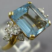 Estate Large 2.46ct Diamond And Aaa Aquamarine 14kt 2 Tone Gold 3d Engagement Ring