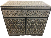 M52 Egyptian Wood Jewelry Box Inlaid Mother Of Pearl Handmade 16.7 X 15.7 Inch