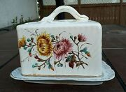 Antique German Franz Anton Mehlem Covered Cheese Keeper Floral Design Circa 1900