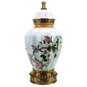 Porcelain And Bronze Ormolu Polychrome Lidded Ginger Jar With Birds In Branches