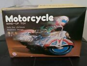 Vintage Motorcycle Tin Wind-up Toy Ms 702 China 1960and039s New In Box