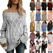 Womens Winter Baggy Knitted Sweater Jumper Tops Ladies Pullover Knitwear Outwear