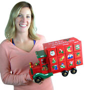 Premium Hand Painted Old Fashioned Red Truck Wood Advent Calendar With Drawers