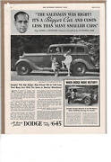 Aug 25 1934 Saturday Evening Post Dodge Smaller Cars Cost More Ad Print H740
