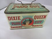 Rare Vintage Advertising Dixie Queen Lunch Pail Style Canister Tin 497-f