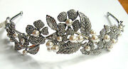 Butler And Wilson Crystal Pearl Flower Tiara Necklace Bangle Earrings Rrp £342