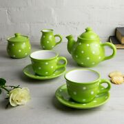Handmade Lime Green And White Ceramic Teapot Set With 2 Cups, Tea Set For Two