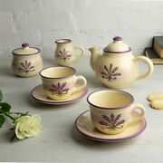 Handmade Lavender Floral Cream Ceramic Teapot Set With 2 Cups, Tea Set For Two