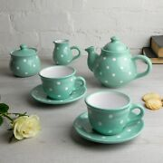Handmade Teal Blue And White Ceramic Teapot Set With 2 Cups, Tea Set For Two