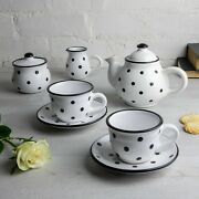 Handmade White And Black Ceramic Teapot Set With 2 Cups, Tea Set For Two