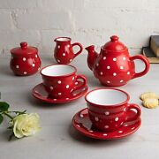 Handmade Red And White Ceramic Teapot Set With 2 Cups, Tea Set For Two