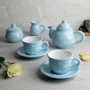 Handmade Light Sky Blue And White Ceramic Teapot Set With 2 Cups, Tea Set For Two