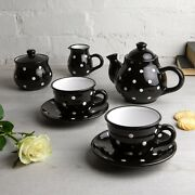 Handmade Black And White Ceramic Teapot Set With 2 Cups, Tea Set For Two