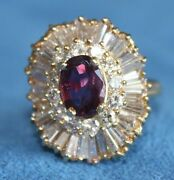 Stunning Vintage 3 Ct Ruby And Diamond Baguette 18kt 18k Gold Size 6 Cocktail Ring