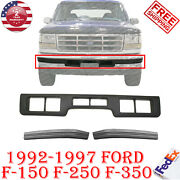Front Bumper Center Molding +side Pads For 1992-1997 Ford 150-350/ 92-96 Bronco