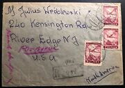 1946 Bialystok Poland Registered Airmail Cover To River Edge Il Usa Sc C16