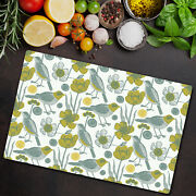 Glass Chopping Cutting Board Garden And Birds Floral Fairytale Nature Pastel
