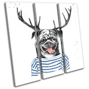 Hipster Urban Dog Pug Stag Deer Vintage Treble Canvas Wall Art Picture Print