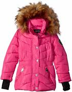 Diesel Girls Pink Removable Faux Fur Hooded Parka Jacket Toddler Size 2t 2 Nwt