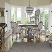 Dining Room Kitchen Chairs Two Arm And Four Side Aged White Wash Fabric