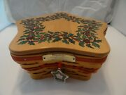 Longaberger Red Shining Star Basket Holly Casserole Dish Liners Tie On Lid