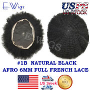 Us 6mm Wave 1b Afro Toupee For Black Men Full Lace Curly Human Hairpieces Units