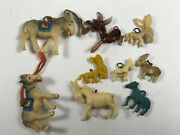 Lot 9 Celluloid Plastic Donkey Burro Charms Premium Prize Toys Great Group
