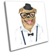 Hipster Animals Pug Dog Glasses Vintage Single Canvas Wall Art Picture Print