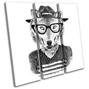 Hipster Animals Wolf Glasses Vintage Treble Canvas Wall Art Picture Print