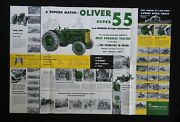 1954 The Oliver 2-3 Plow Super 55 Tractor Catalog Fold-out Poster Brochure