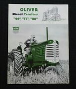 1952 The Oliver 66 77 88 Diesel Tractor Catalog Brochure Very Nice