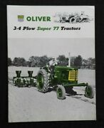 1955 The Oliver 3-4 Plow Super 77 Tractor Catalog Brochure Very Nice