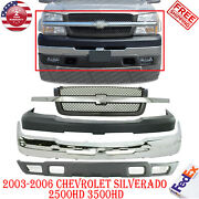 Front Bumper Chrome Upandlow Cover + Grill For 03-06 Chevy Silverado 2500hd 3500hd