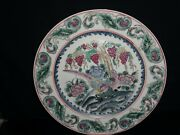 Large Antique Chinese Porcelain Plates .hand Painted .for Decoration .signed