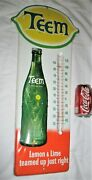 Antique Usa Teem Soda Metal Glass Country Store Bottle Sign Art Thermometer