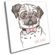 Hipster Animals Pug Dog Bowtie Vintage Single Canvas Wall Art Picture Print
