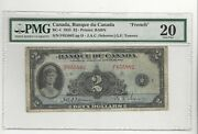 1935 Banque Du Canada Bc-4 2 Osb/tow Sn F 655882 Pmg Vf-20 French