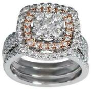 Large 1.0ct Diamond 14kt White And Rose Gold Multi Row Double Halo Engagement Ring