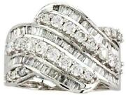 Large 1.5ct Diamond 14k White Gold Round And Baguette 3d Wave Criss Cross Fun Ring
