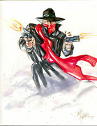Dave Dorman Original Art, The Shadow, 9x12, 1989 Early Piece, Water Color