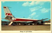 Vintage Postcard Twa Trans World Airlines Boeing 707 Jet Airliner On Tarmac P-36
